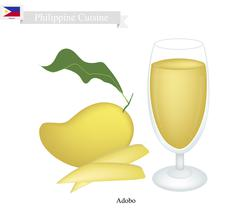 Mango Juice, A Famous Beverage in Philippines - stock illustration