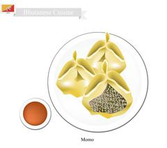 Momo or Bhutanese Dumpling Served with Sauce Stock Illustration