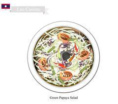 Green Papaya Salad, A Popular Dish in Laos Stock Illustration