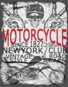 Vintage retro illustration typography t-shirt printing motorcycle tee design - stock illustration