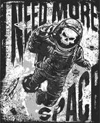 Skull in astronaut suit. Hand drawn vector illustration Stock Illustration