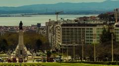 Eduardo VII Park in Lisbon, Portugal Stock Footage