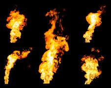 Set of gas flares blazing fire spurts and glowing flames - stock photo