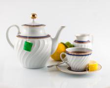 closeup tea service cup - stock photo
