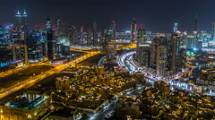 Scenic aerial view of a big modern city at night timelapse. Business bay, Dubai Arkistovideo