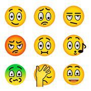Smiley face emoji flat vector icons set Stock Illustration