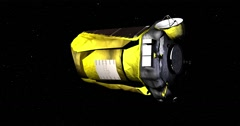 Flyby of Kepler spacecraft as it travels through empty space Stock Footage