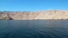 Sultanate of Oman, Musandam peninsula, Gulf of Oman, rocky coast Stock Footage