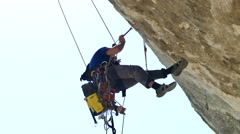 Male Rock Climber Inspection Clifs Stock Footage