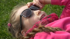 Close up of Smiling Girl in Sunglasses Stock Footage