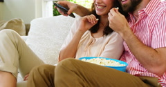 Couple with pop corn in their hands Stock Footage