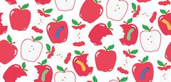 Seamless cute colorful apple pattern in vector Stock Illustration