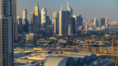 Scenic Dubai downtown skyline timelapse at sunset time. Rooftop view of Sheikh Stock Footage