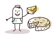 cartoon food retailer - cheese - stock illustration