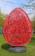 Easter ornamental egg in a park Stock Photos