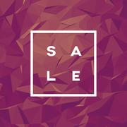 Sale banner template with low poly vector background. Special offers and - stock illustration