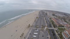 Flying Over Huntington Beach,  California Stock Footage