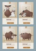 Animal banner with Cows for web design - stock illustration