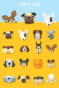 Set of cute dog icons Stock Illustration
