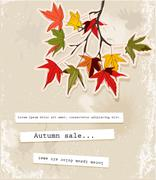 Card with autumn leaves Stock Illustration