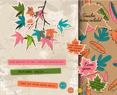 Scrapbooking set about autumn. - stock illustration