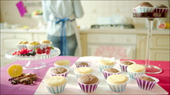 Woman engaged on making muffins Stock Footage