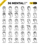 Mental & Mind pixel perfect outline icons Stock Illustration
