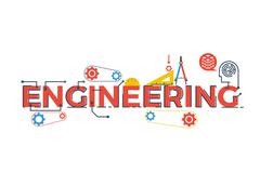 Engineering word illustration - stock illustration