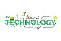technology word illustration - stock illustration