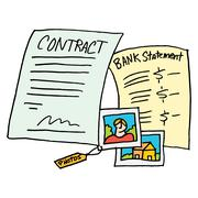 legal evidence contract documents - stock illustration