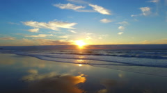 Aerial at Praia Vale Figueiras in Portugal at sunset Stock Footage