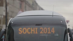 Line on special bus Sochi 2014. Relay race of Sochi Olympic flame in Saint Stock Footage