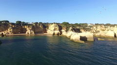 Aerial from Praia Tres Irmaos in Alvor Portugal Stock Footage