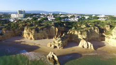 Aerial from Praia Tres Irmaos at Alvor in the Algarve Portugal Stock Footage