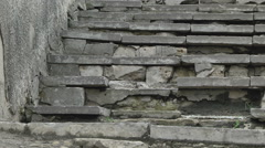 Old cracked stone steps Stock Footage
