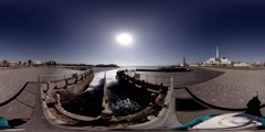 Cooling water of Reading Power Station.  360 video Stock Footage