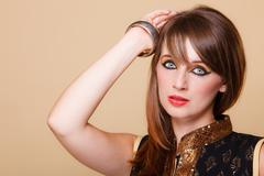 Portrait orient girl with makeup - stock photo