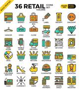 Retail Store pixel perfect outline icons - stock illustration