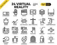 Virtual reality pixel perfect outline icons Stock Illustration