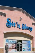 Sit 'n Sleep Retail Store and Sign - stock photo
