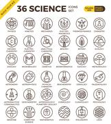 Science education badge pixel perfect outline icons Piirros