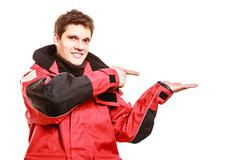 Adventurous man making gesture - stock photo