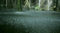 View at raining drops crush on ground. Summer day. Downpour. Puddles. Heavy rain Stock Footage