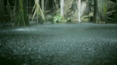 View at raining drops crush on ground. Summer day. Puddle. Pouring heavy rain - stock footage