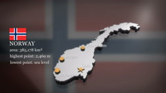 3D animated Map of Norway Stock Footage