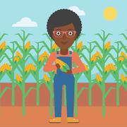 Farmer holding corn - stock illustration