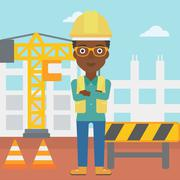 Friendly builder with arms crossed - stock illustration