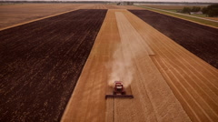 Wheat Harvest - Aerial view, Midwest USA Stock Footage