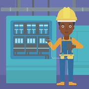 Electrician with electrical equipment - stock illustration