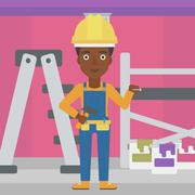 Cheerful repairer engineer - stock illustration